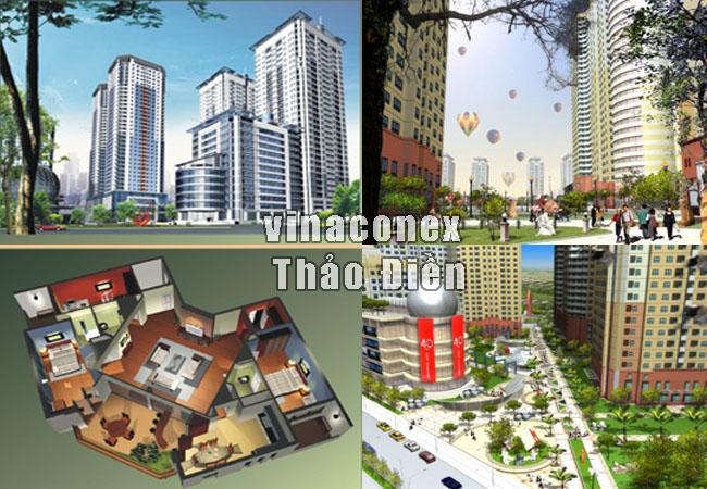 mặt bằng  và phối cảnh dự án vinaconex thảo điền