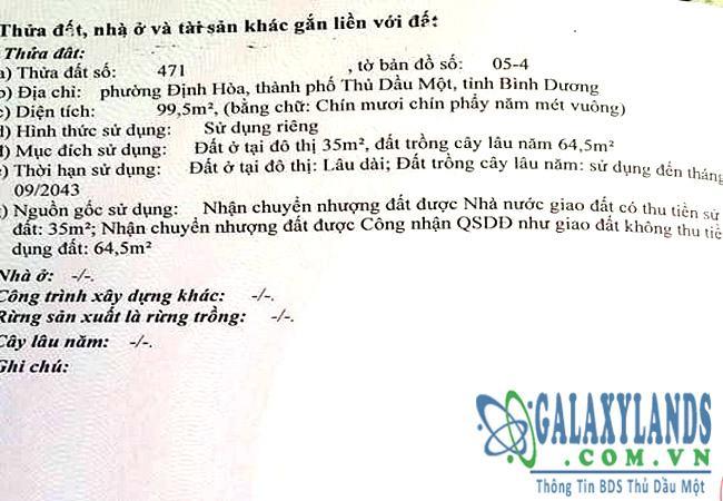 Bán đất phường Định Hòa, Thủ Dầu Một, Bình Dương