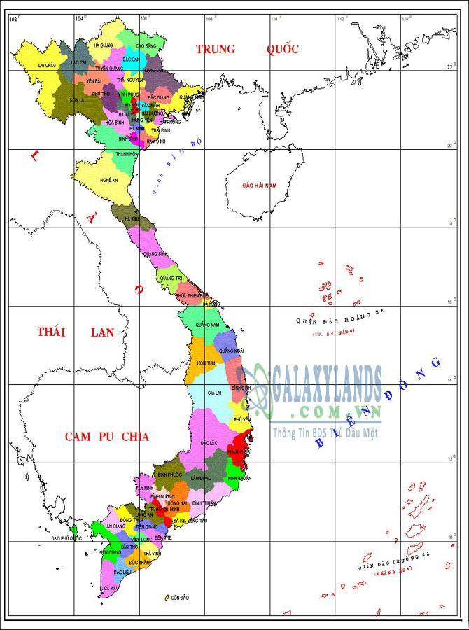 Bản đồ diện tích các tỉnh việt nam