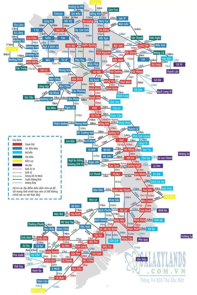 Bản đồ khoảng cách các tỉnh Việt Nam