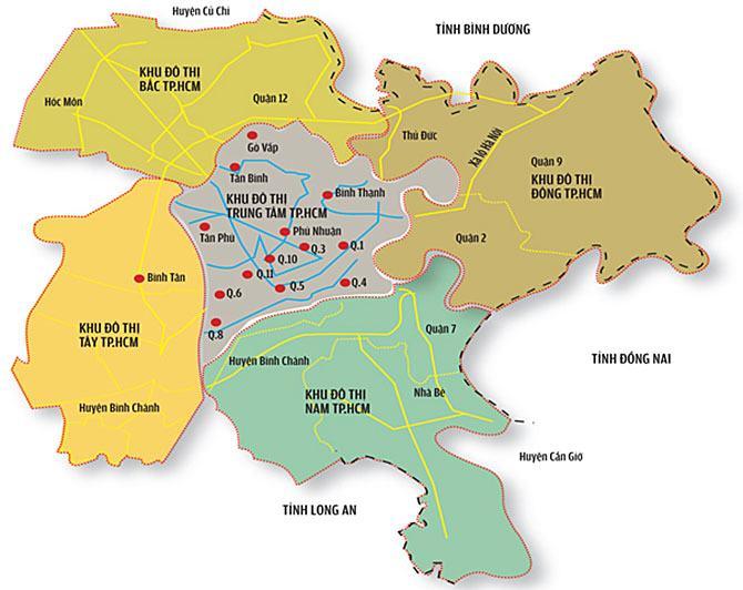 Bản đồ 5 khu đô thị lớn tphcm