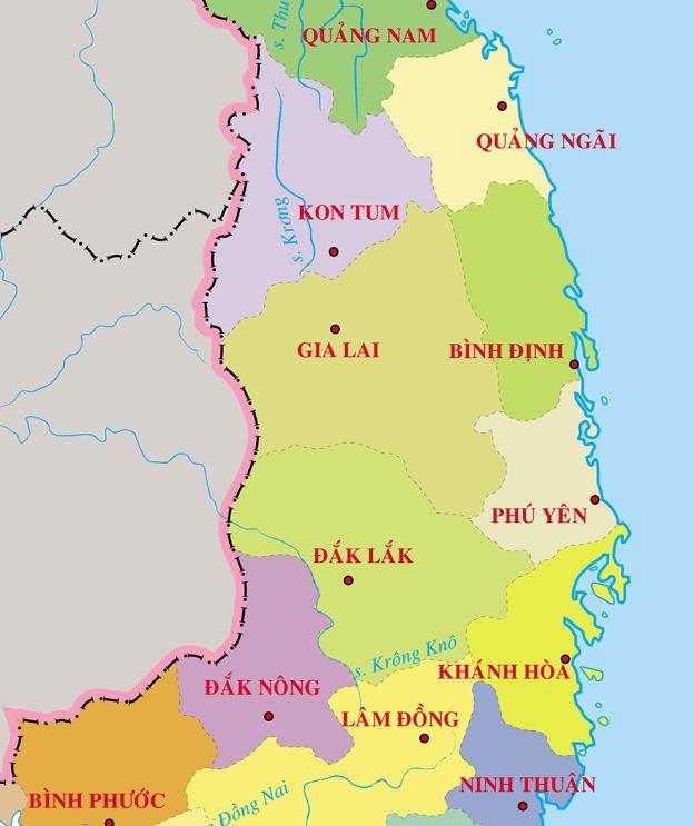 Bản đồ các tỉnh Tây Nguyên Việt Nam