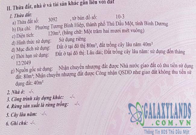 Bán đất Tương Bình Hiệp đường Nguyễn Chí Thanh
