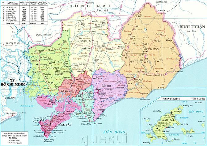 Bản đồ tỉnh Bà Rịa Vũng Tàu