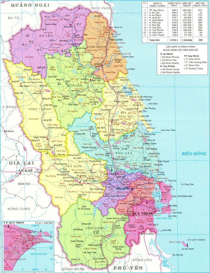Bản đồ hành chính tỉnh Bình Định