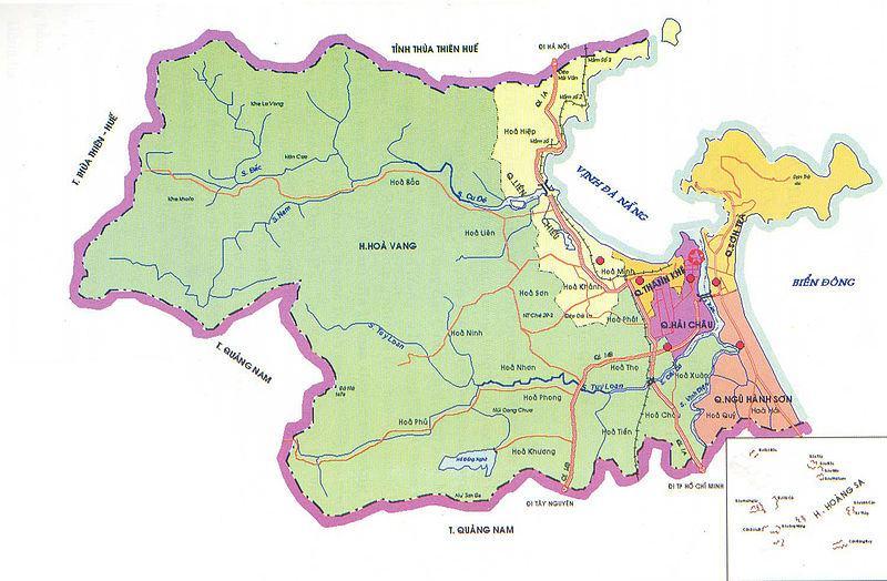 Bản đồ địa giới hành chính thành phố Đã Nẵng