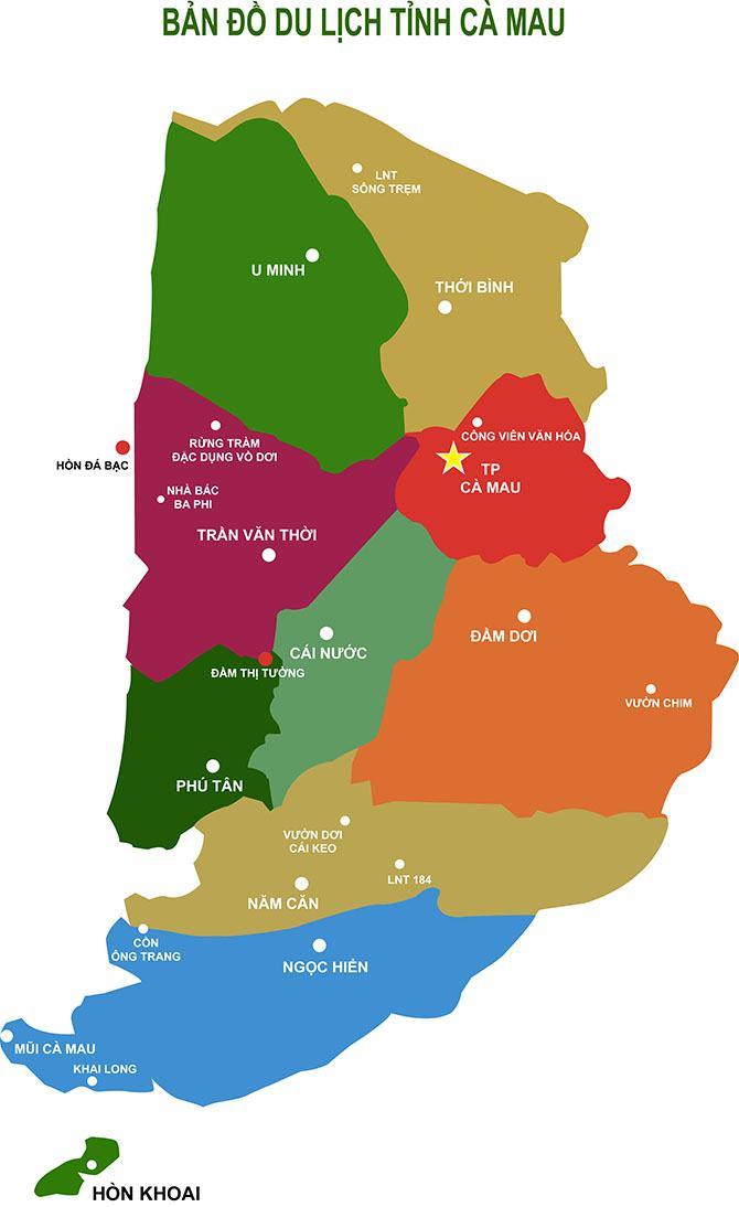 Bản đồ du lịch tỉnh Cà Mau