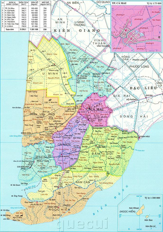 Bản đồ hành chính tỉnh Cà Mau