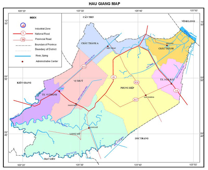 Bản đồ hành chính tỉnh Hậu Giang