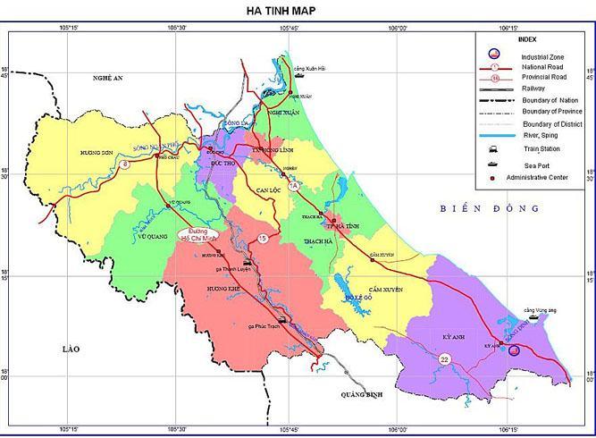 Bản đồ hành chính tỉnh Hà Tĩnh