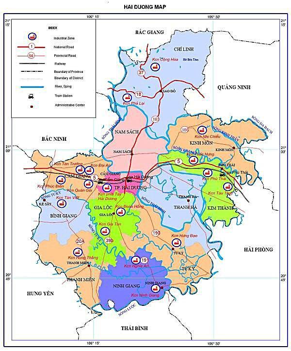 Bản đồ hành chính tỉnh Hải Dương