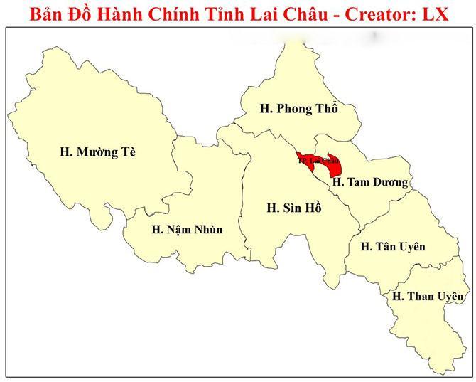 Bản đồ các đơn vị hành chính tỉnh Lai Châu