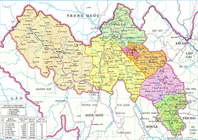 Bản đồ tỉnh Lai Châu kích thước lớn, chi tiết nhất