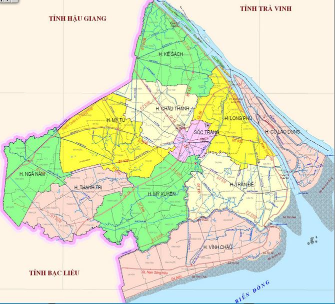 Bản đồ hành chính tỉnh Sóc Trăng