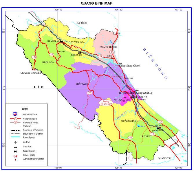 Bản đồ hành chính tỉnh Quảng Bình