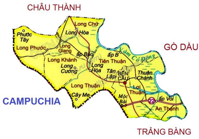 Bản đồ huyện Bến Cầu Tây Ninh