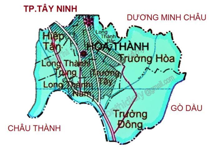Bản đồ huyện Hòa Thành Tây Ninh
