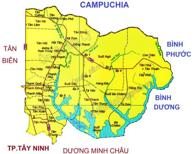 Bản đồ huyện Tân Châu Tây Ninh