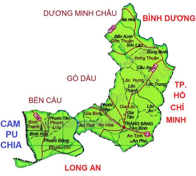 Bản đồ huyện Trảng Bàng Tây Ninh