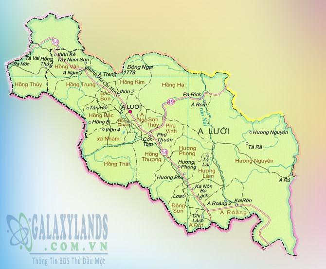 Bản đồ huyện A Lưới Thừa Thiên Huế