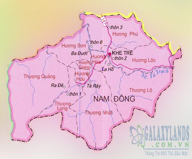 Bản đồ huyện Nam Đông Thừa Thiên Huế