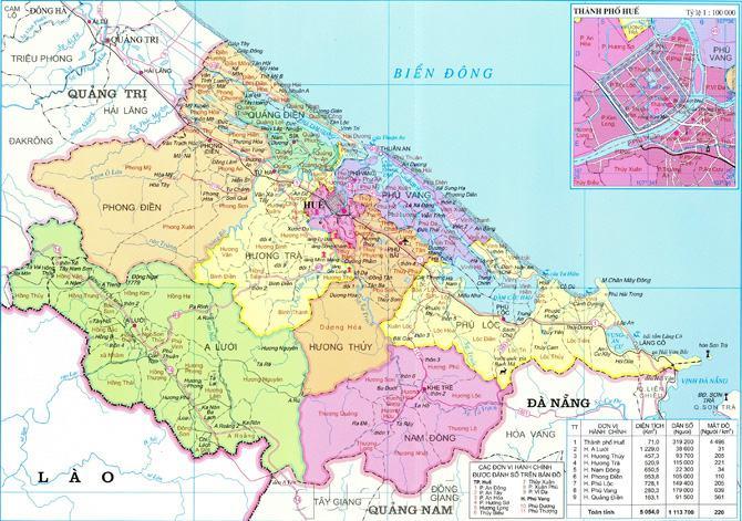 Bản đồ tỉnh Thừa Thiên Huế