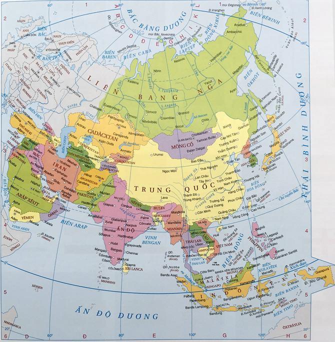 Bản đồ các quốc gia Châu Á chi tiết nhất