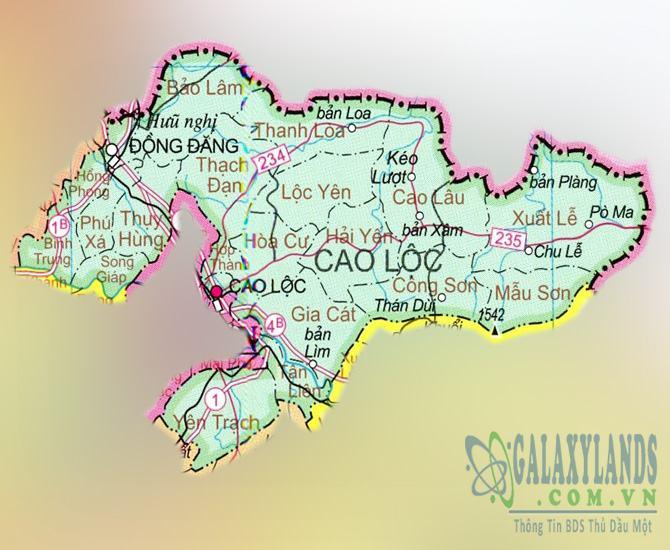 Bản đồ huyện Cao Lộc tỉnh Lạng Sơn