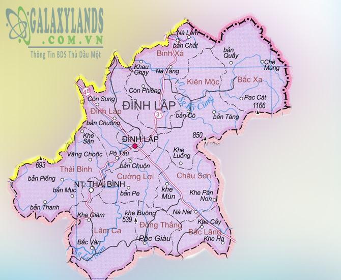Bản đồ huyện Đình Lập tỉnh Lạng Sơn