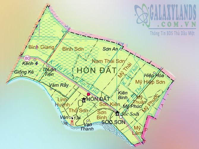 Bản đồ huyện Hòn Đất tỉnh Kiên Giang