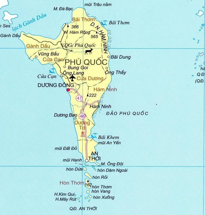 Bản đồ Đảo Phú Quốc tỉnh Kiên Giang