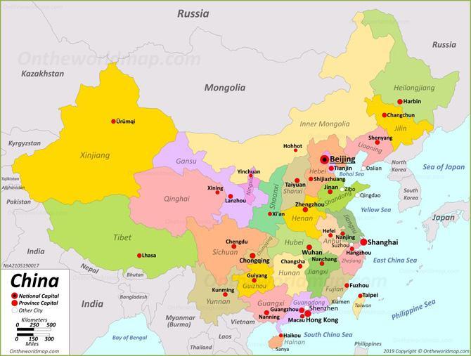 Bản đồ các tỉnh Trung Quốc ( China)