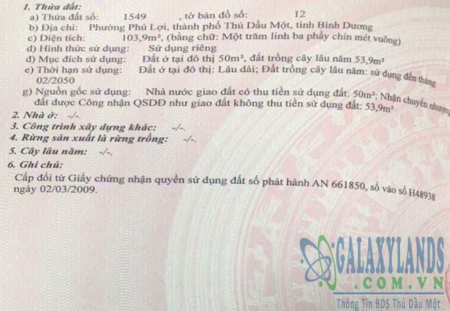 Bán nhà sổ hồng riêng phường Phú Lợi