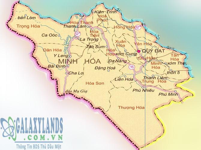 Bản đồ huyện Minh Hóa tỉnh Quảng Bình