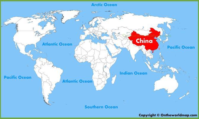 Vị trí đất nước Trung Quốc trên bản đồ Thế Giới